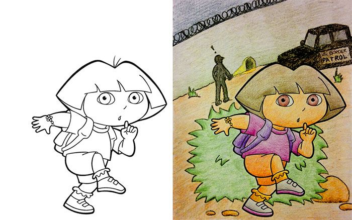 This Is What Happens When Adults Color Drawings For Children ...
