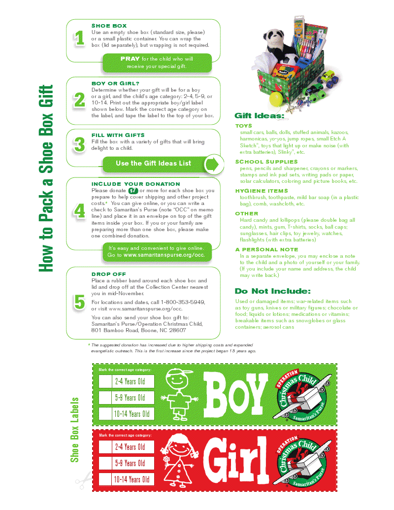 Operation Christmas Child - How to Pack a Shoe Box - Printable I ...