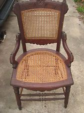 Circa 1880u0027s Antique Victorian Eastlake Walnut U0026 Cane Parlor Dining Chair
