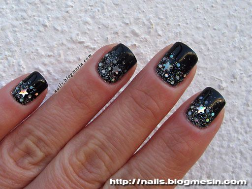 Black manicure with holo stars and glitter | Nail polish | Pinterest ...