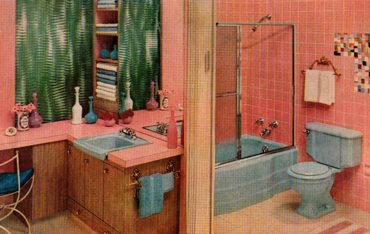 Mid Century Pink Bathroom Pink And Blue Bathroom A Photo On