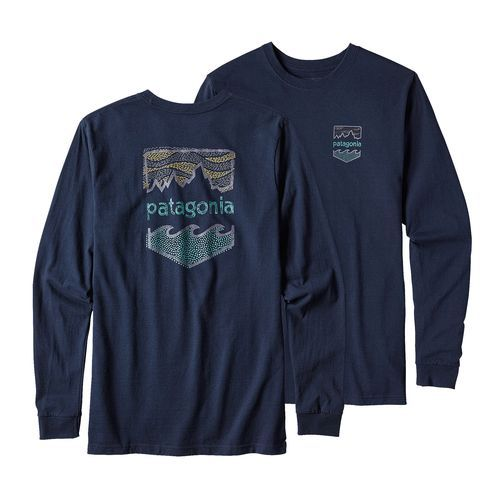 M's Long-Sleeved Patagonia Badge Cotton/Poly Responsibili-Tee™, Navy Blue (NVYB)