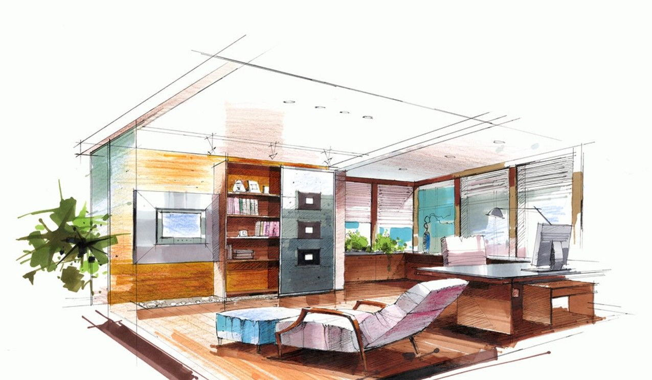 Beauty Interior Design Office Sketches Sketch Of Chairman