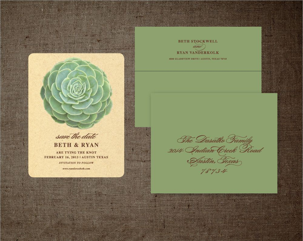 tie the knot wedding invitations etsy%0A Succulent SAVE THE DATE Cards Kraft and Olive Wedding Invitations