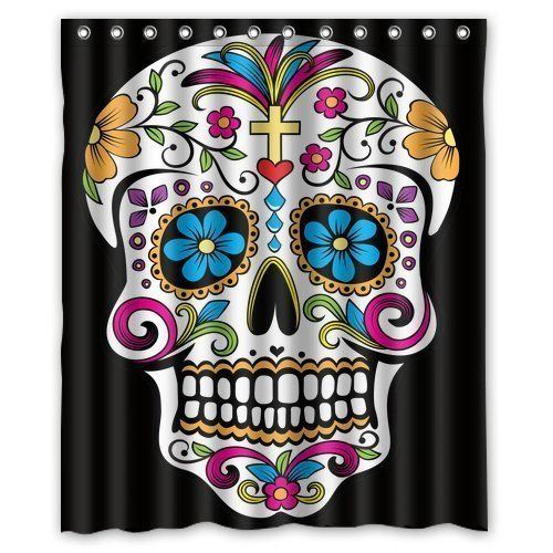 Cozybath Dia De Los Muertos Waterproof Polyester Fabric 60w X 72h Shower Curtain And Hooks Click On The Sugar Skull Shower Curtain Shower Curtain Polyester