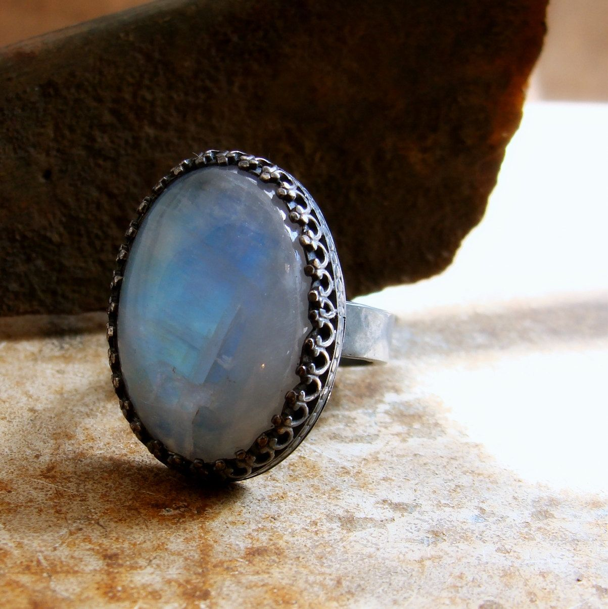 Blue+moonstone+ring+in+antiqued+sterling+silver+size+by+2TrickPony,+$137.00