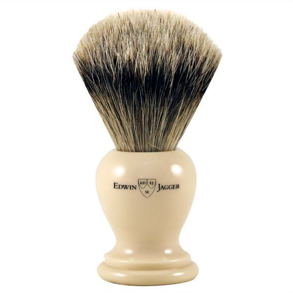 Jagger Small Off-White Super Badger Shave Brush by Edwin