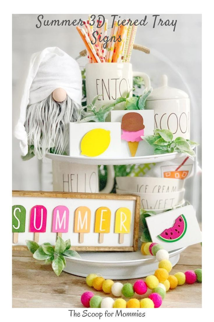 Photo of Tiered Tray Signs for Summer