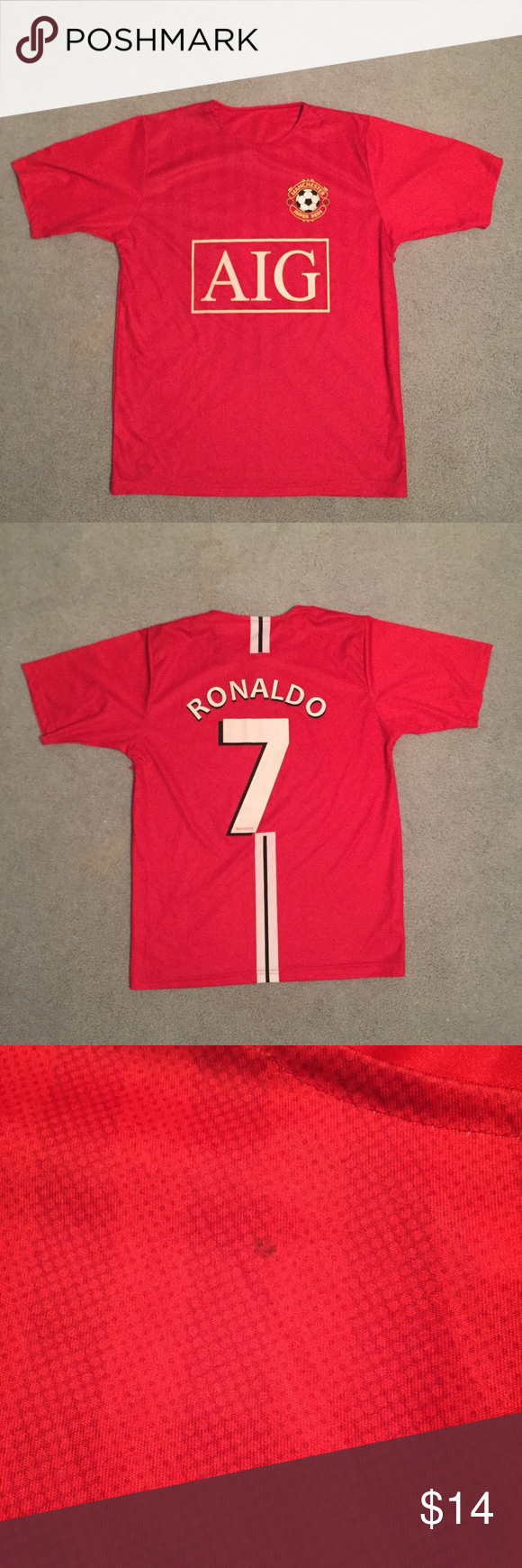 wholesale dealer 37365 a364d AIG Manchester United Football Jersey #7 CHRISTIANO RONALDO ...