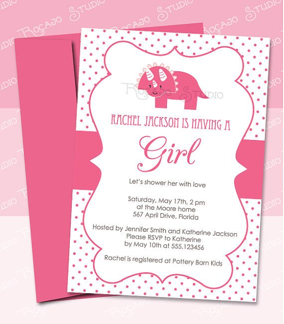 dinosaur baby shower invitation for baby girl in pink - diy, Baby shower invitations