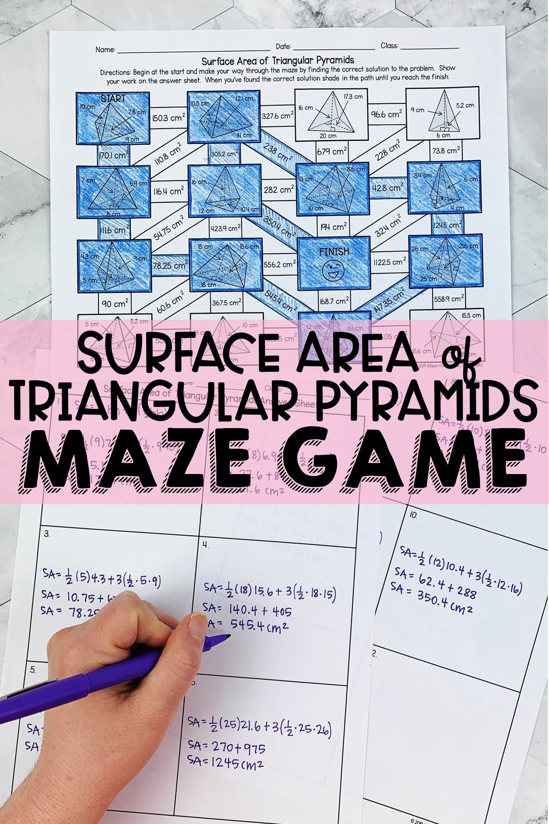 Surface Area Of Triangular Pyramids Maze Math Games Middle School Math Maze Middle School Math