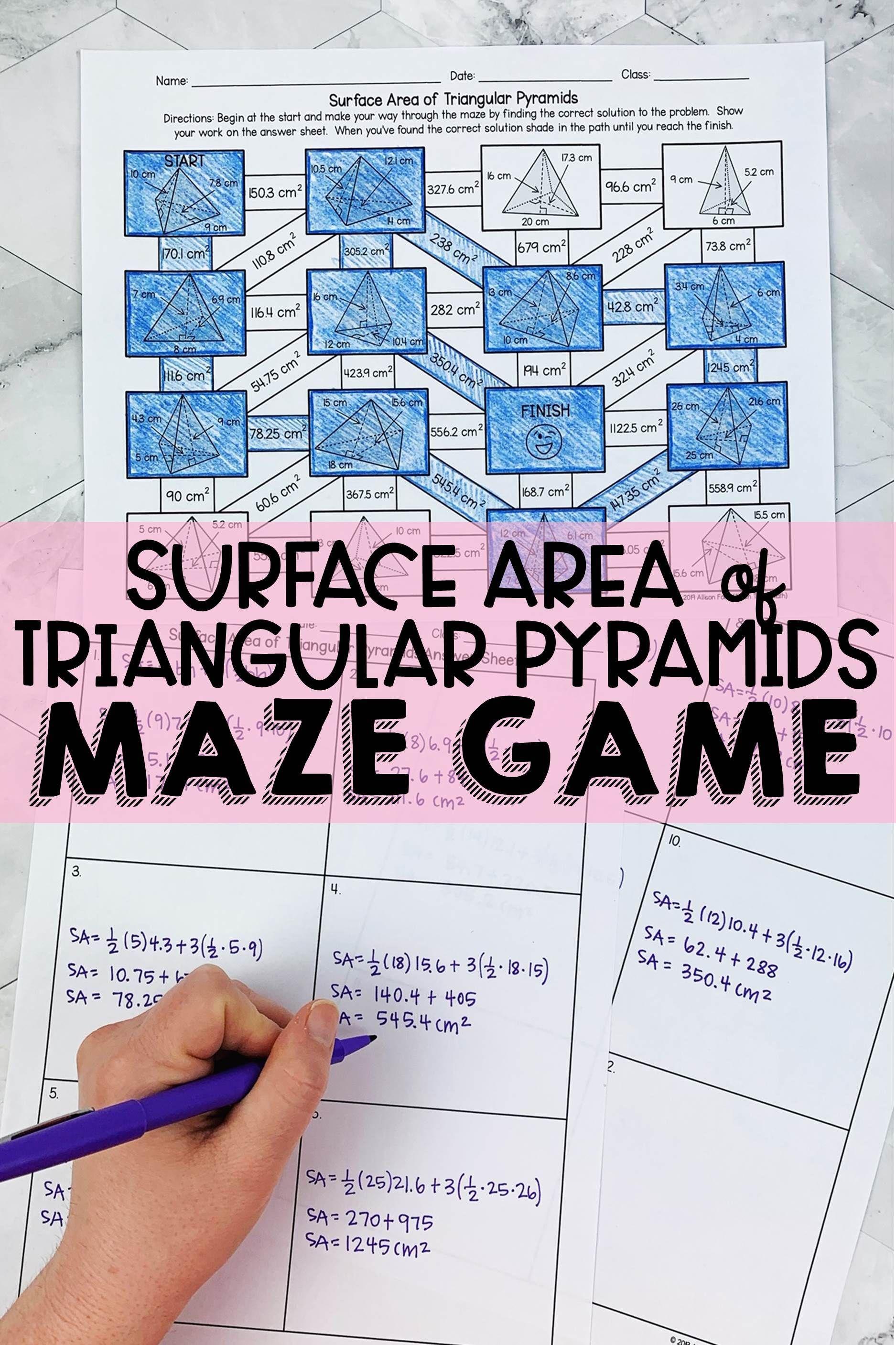 Surface Area Of Triangular Pyramids Maze