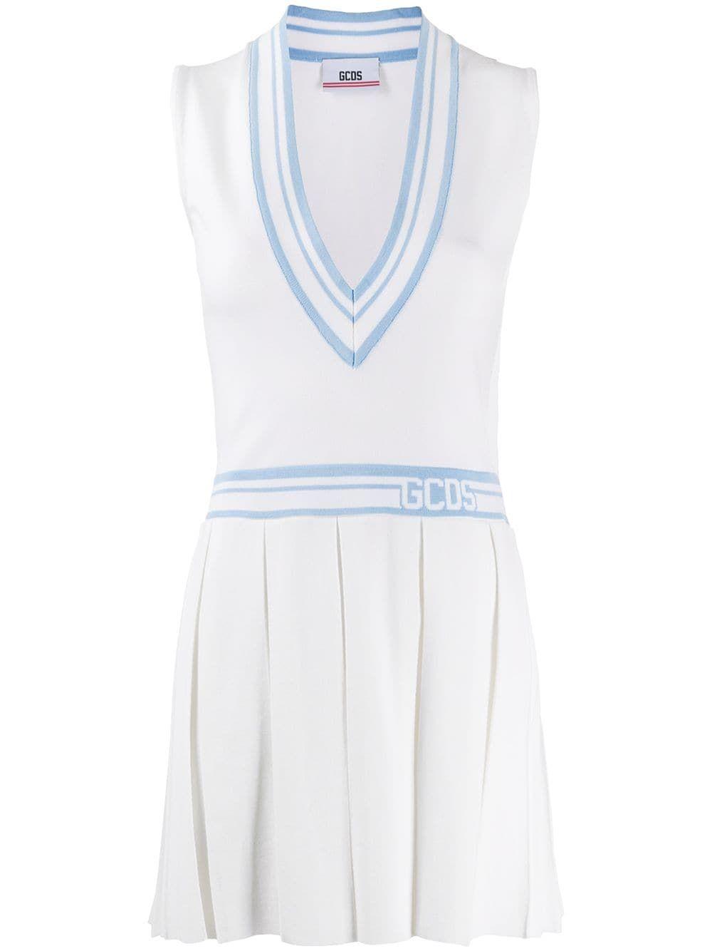 Gcds Deep V Neck Tennis Dress Farfetch Tennis Dress White Tennis Dress Active Wear Dresses [ 1334 x 1000 Pixel ]