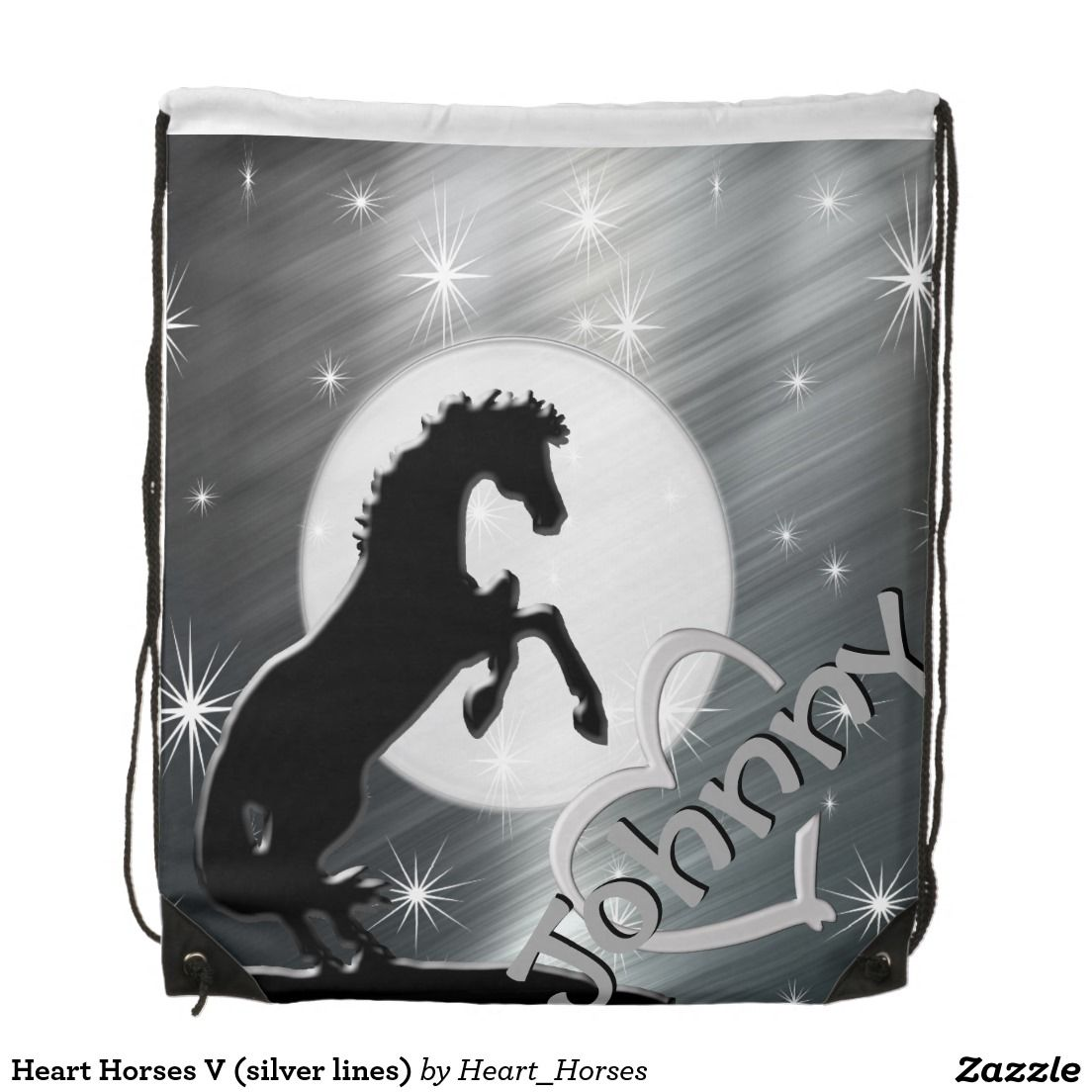Heart Horses V (silver lines) Backpack
