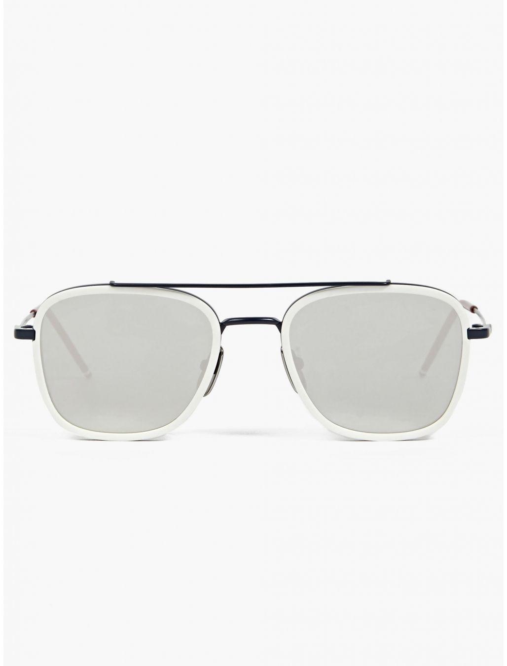 fb3212a162a2 Thom Browne Men s White TB-800-D Silver Lens Sunglasses