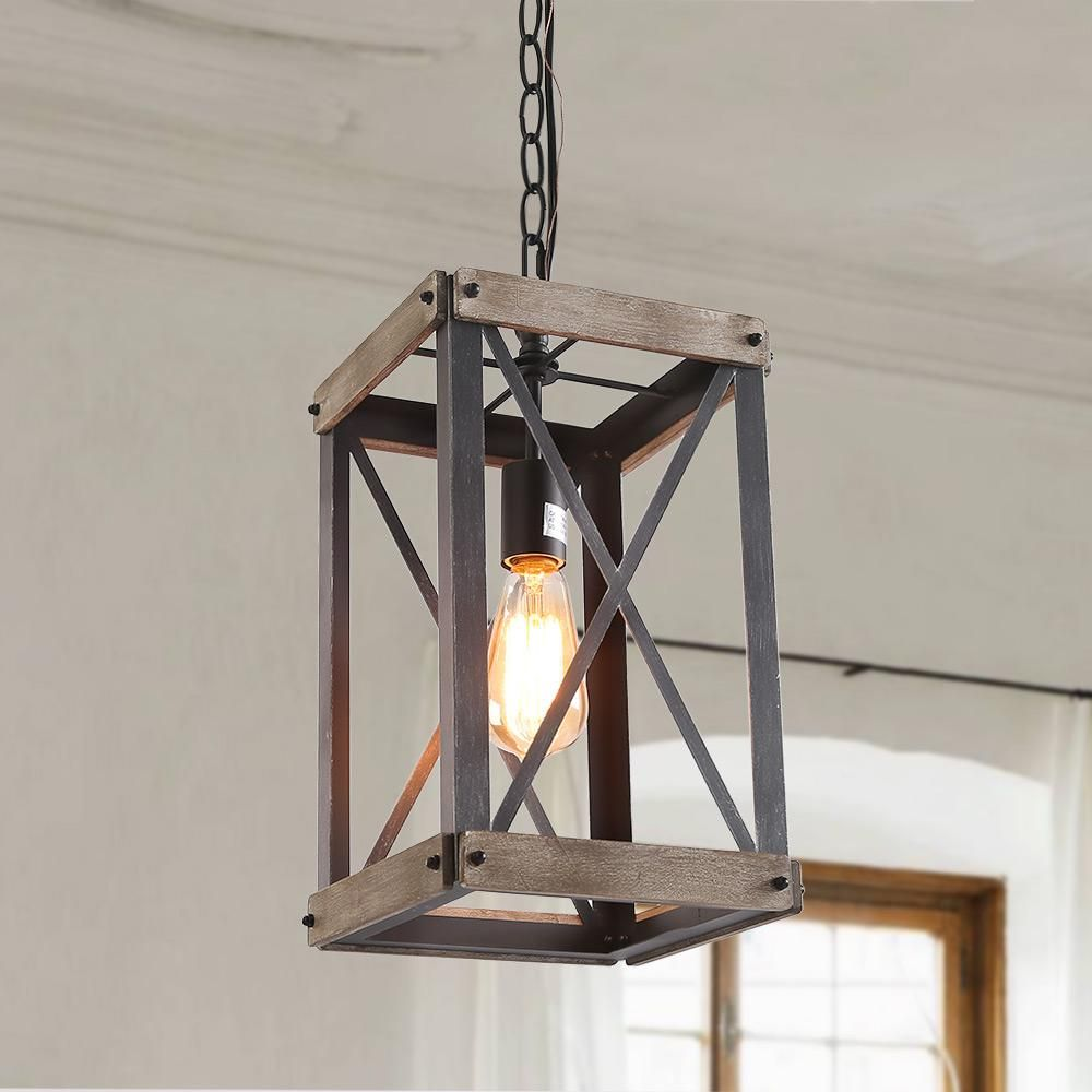 Square Wooden Pendant Light Foyer Pendant Lighting Rustic
