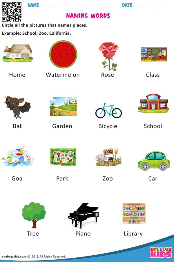 Free Worksheets On Nouns For Kindergarten