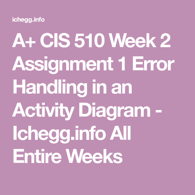 CIS 510 Week 2 Assignment 1 Error Handling in an Activity ...