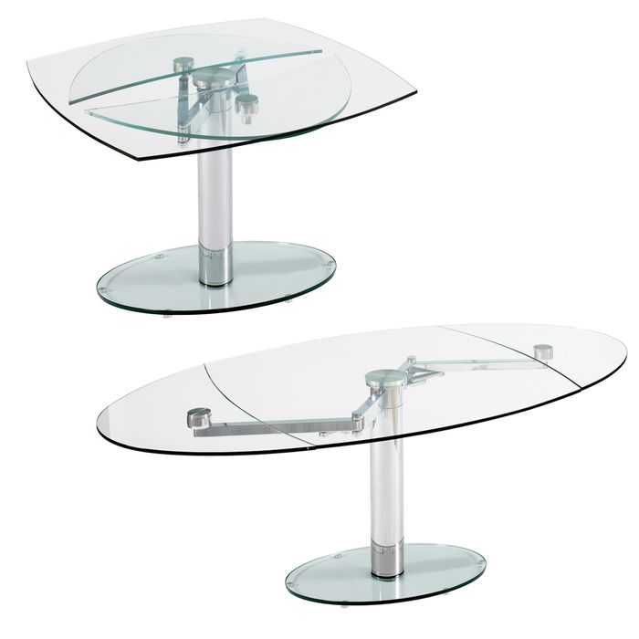 Dwell Luca Glass Extending Dining Table Clear 899 Dining