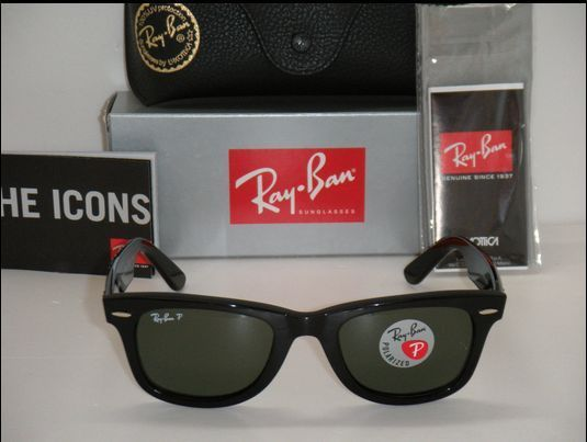 204d60e1b4591 Ray Ban Original Wayfarer Black   Natural green Polarized RB 2140 901 58  50mm