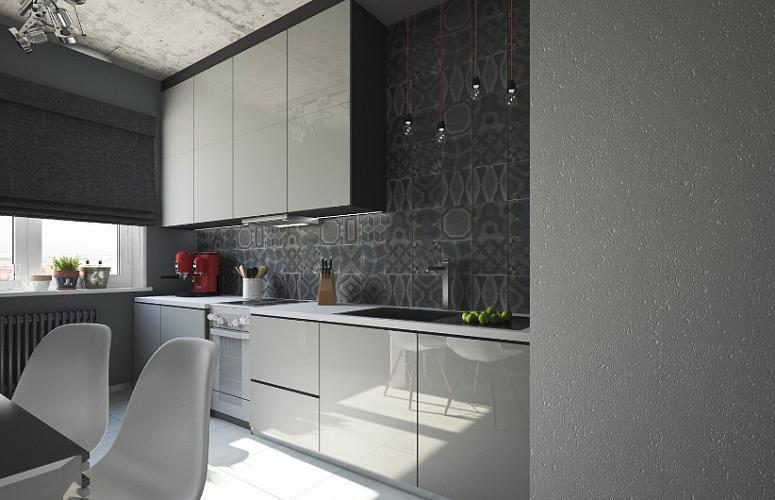 черно белая кухня в стиле лофт 12 кв метров дизайн дома в 2019 г