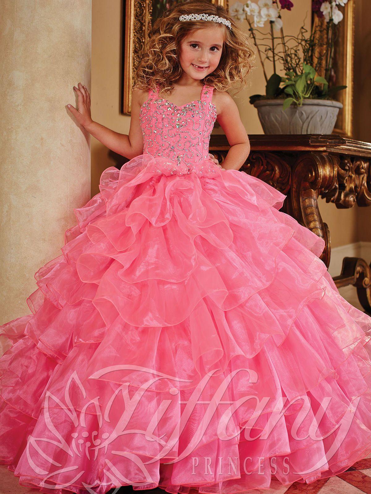 Pink Elegant Formal Pageant Flower Girls Dress Wedding Princess