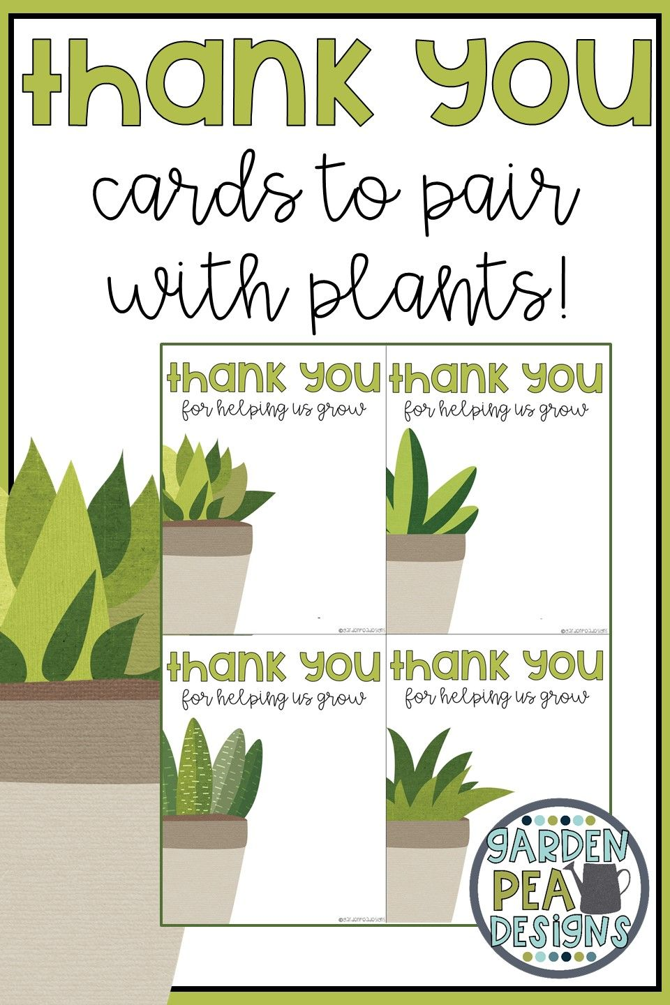 Plant Thank You Card My Tpt Products Cute Thank You Cards Thank