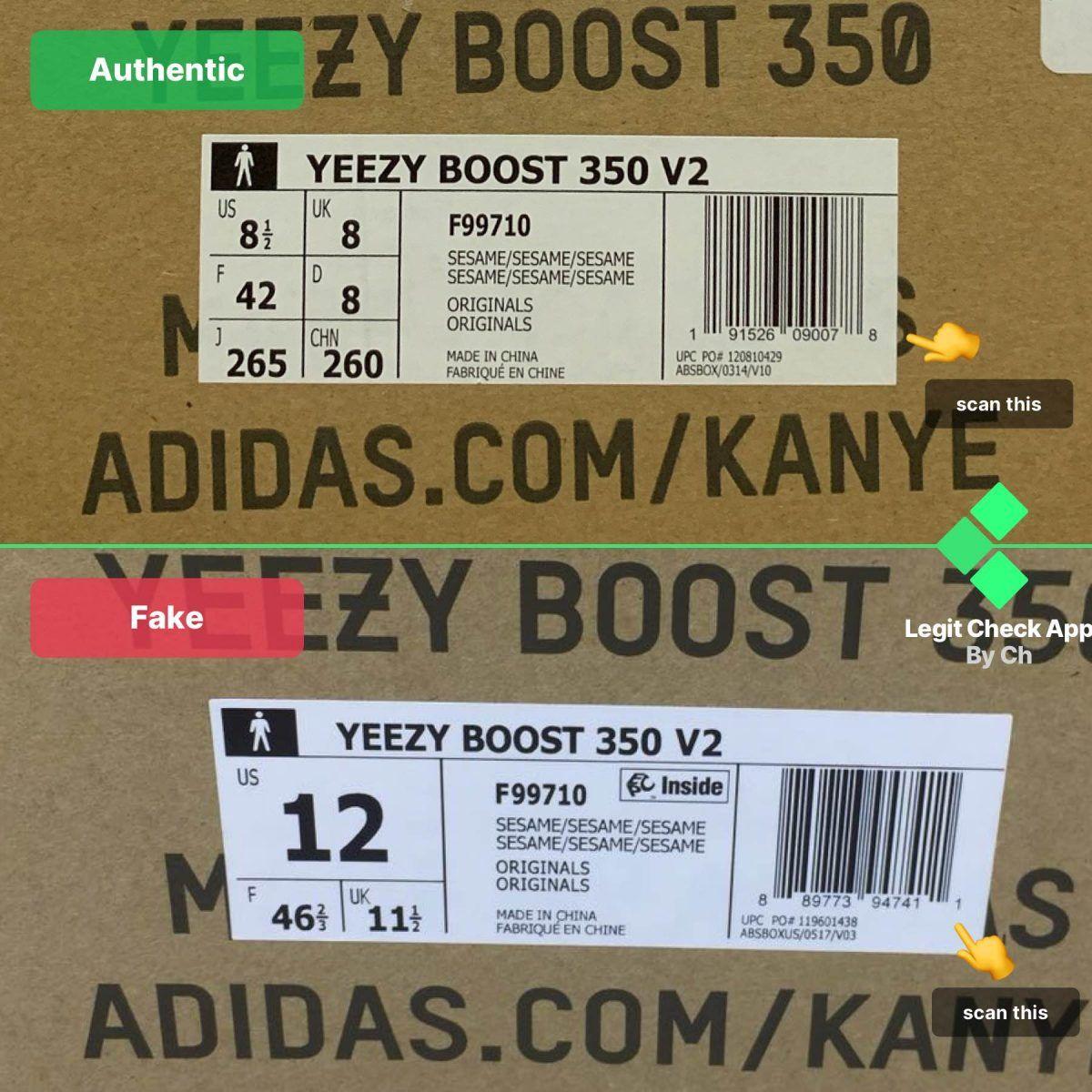 Yeezy Boost 350 V2 Sesame - Box Barcode