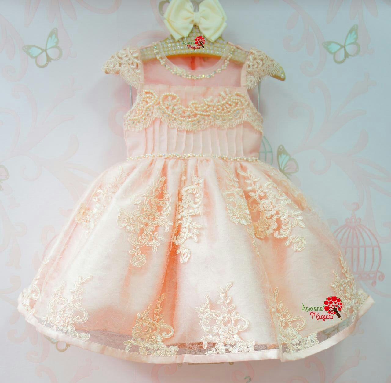 1fdb689f5d3 Vestido de Festa Infantil Bordado Luxo Petit Cherie