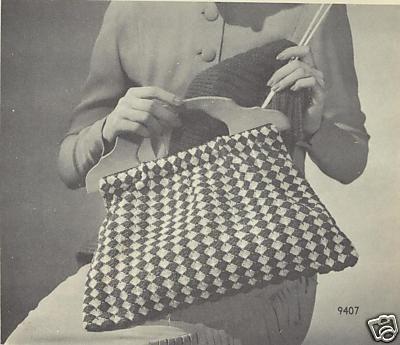 Vintage Knitting Patterns Wooden Handled Bag Knitting Bags Bag