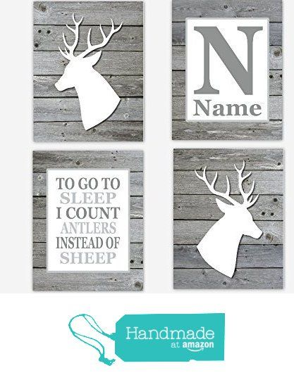 Baby Boy Nursery Art Deer Head Antler Decor Gray Personalize Boy Room Prints To Go To Sleep Rustic Wood Baby Nursery Silhouette Nursery Art SET OF 4 UNFRAMED PRINTS from Dezignerheart Designs http://www.amazon.com/dp/B015UO63YW/ref=hnd_sw_r_pi_dp_CCV2wb1H2KKBD #handmadeatamazon