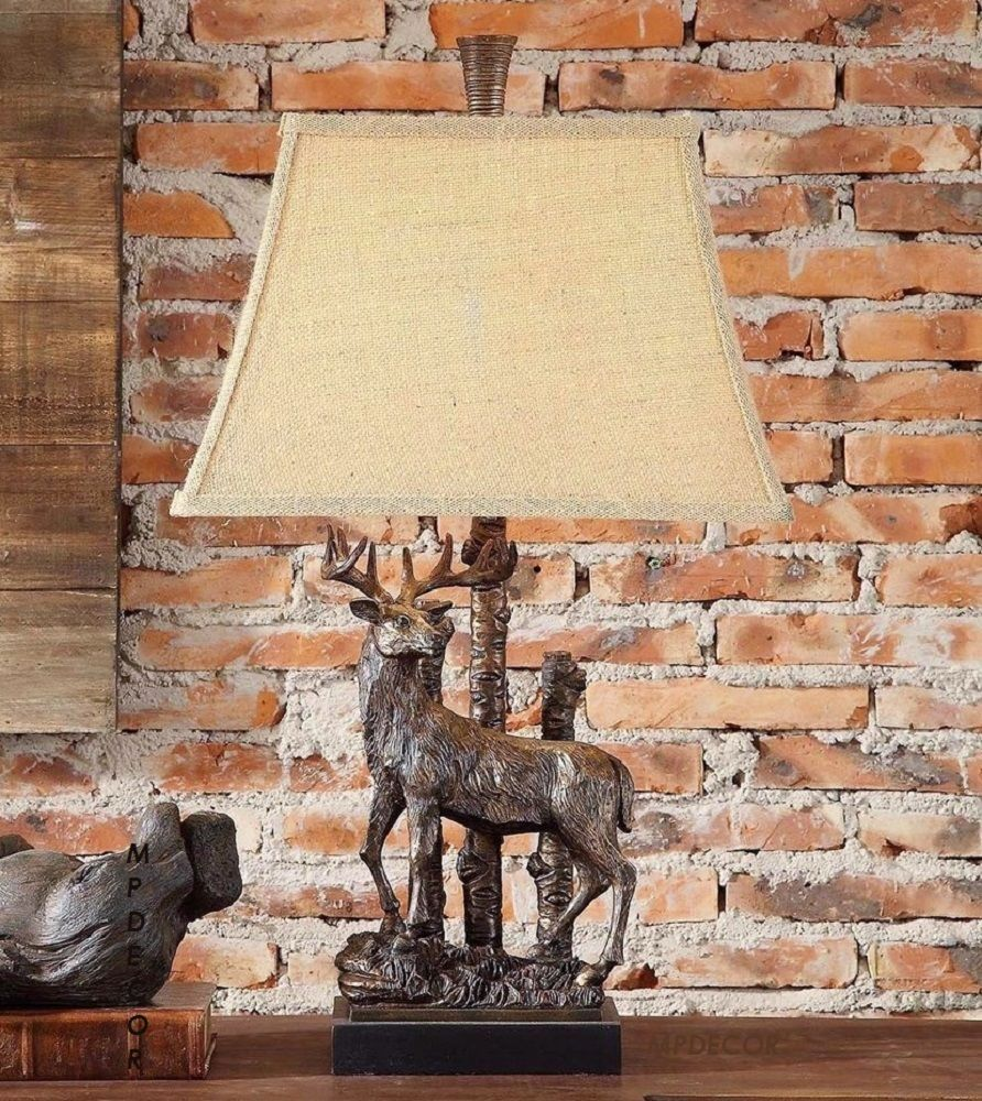 Details about rustic deer table lamp stag elk moose hunting rustic perfect lamp for your rustic mountain cabin lakeside retreat lodge or woodlandoutdoor mozeypictures Images
