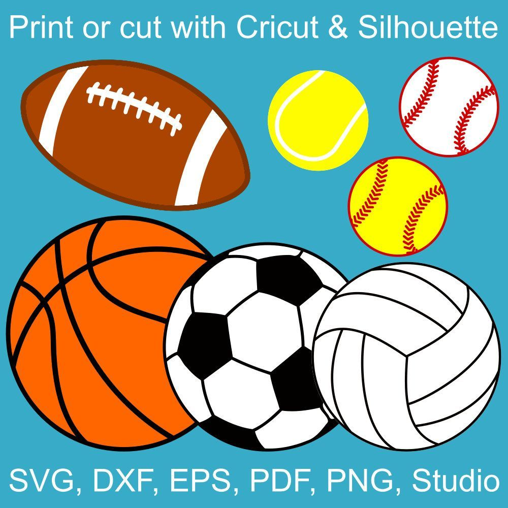 Sports Balls Svg Bundle Basketball Volleyball Football Soccer Baseball Softball Tennis Svg Files For Cricut And Silhouette Fussball Tennis Silhouette