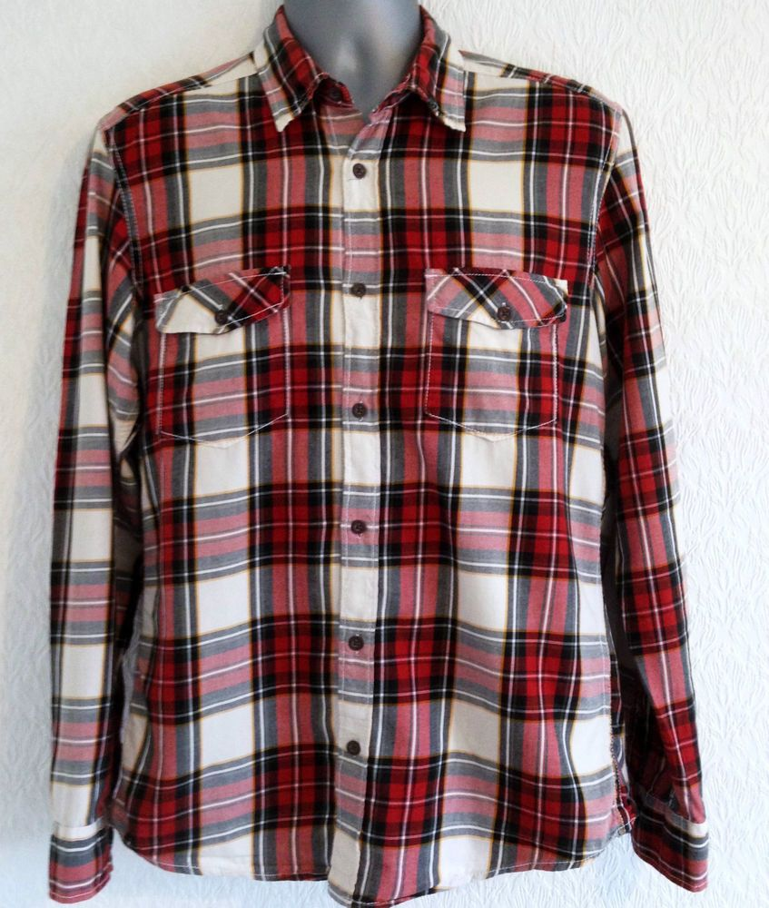 VTG Red & White Plaid Check Shirt M 90s Skate Loose Grunge USA Oversized Flannel