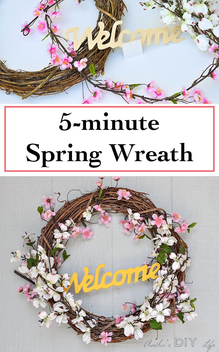 How To Make An Easy 5 Minute Diy Spring Wreath Anika S Diy Life Spring Diy Diy Spring Wreath Spring Wreath