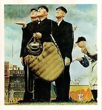 """Bottom Of The Sixth 1949 Norman Rockwell Print  8"""" x 9""""  Matted to 11"""" x 14"""""""