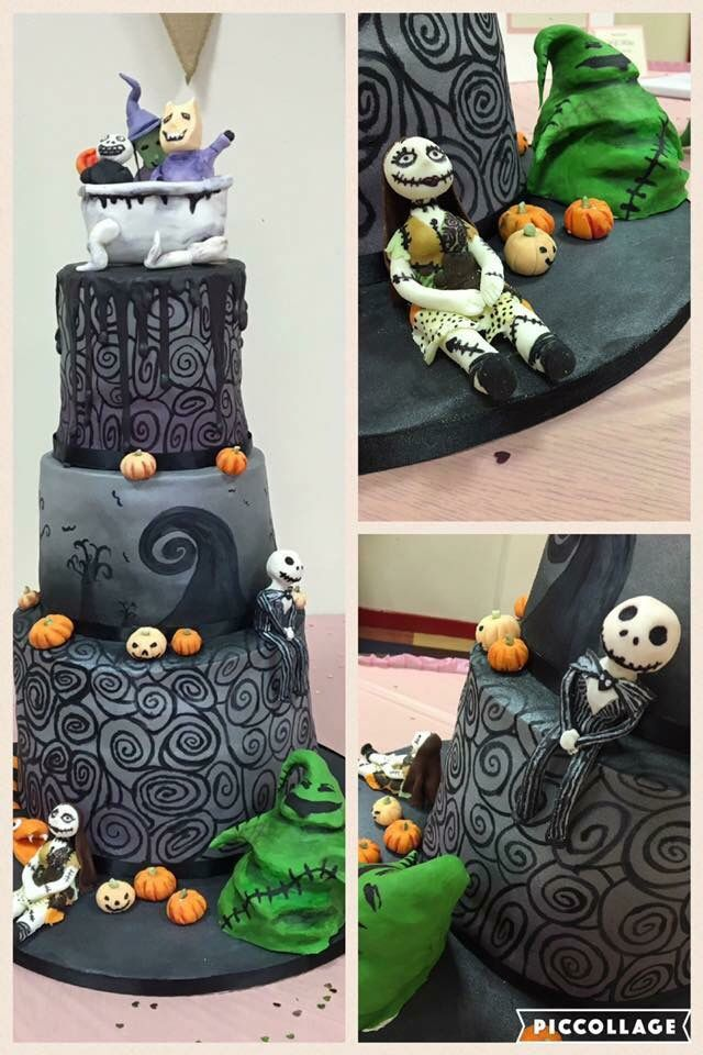 Nightmare before Christmas wedding cake by Cakes by Leisa Cakes