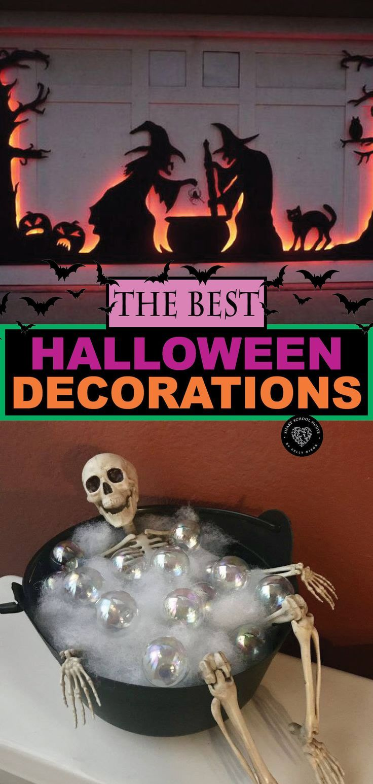 Halloween, the spookiest time of the year. Take a look at these great DIY Halloween decorations for your home. These great decoration are a lot of fun and sure to make your house the coolest on the block. Have fun with your Halloween and fall decorations this year. #halloween #decorations #outside #forthehome #diy #fall #smartschoolhouse