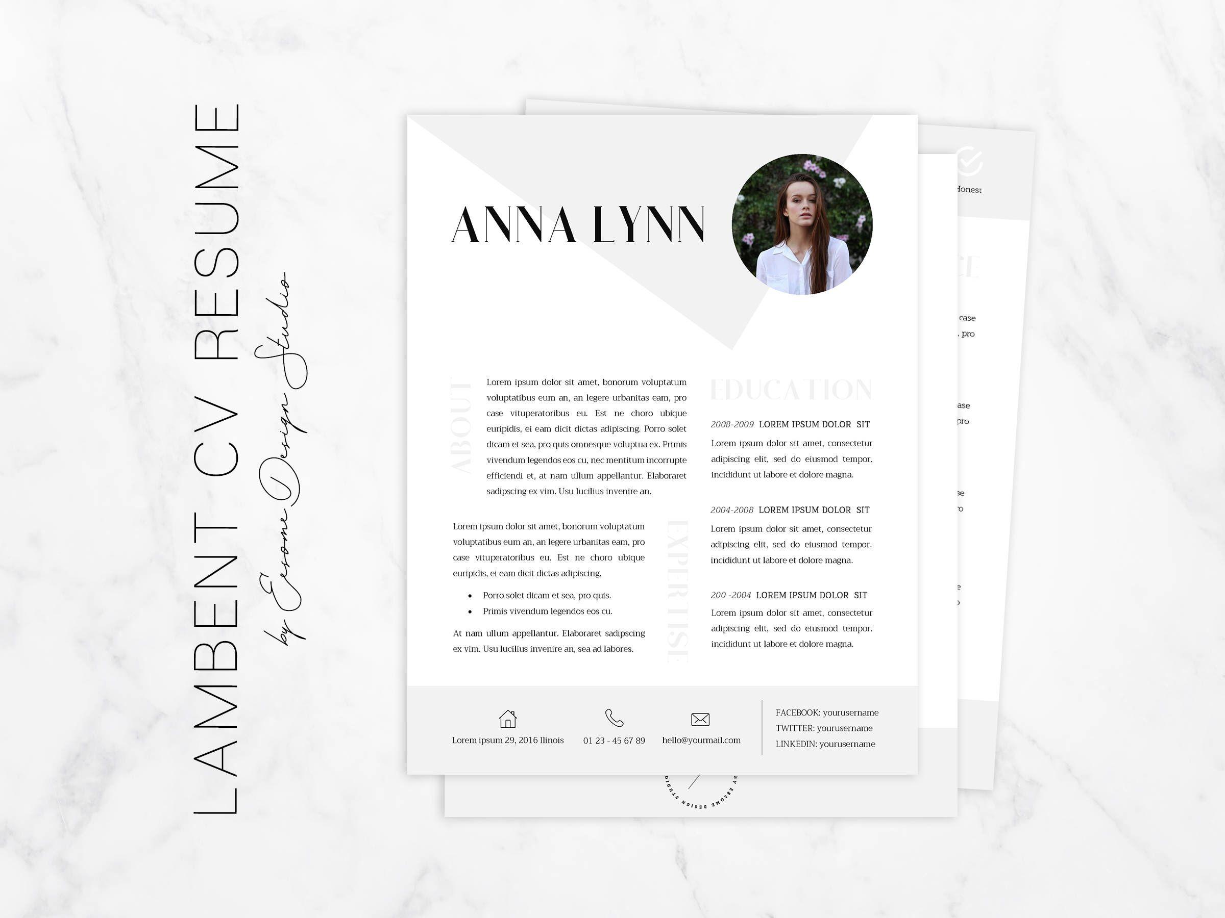 Cv Resume Template Simple Modern Cv Resume Word Template And Cover Lettercv Design