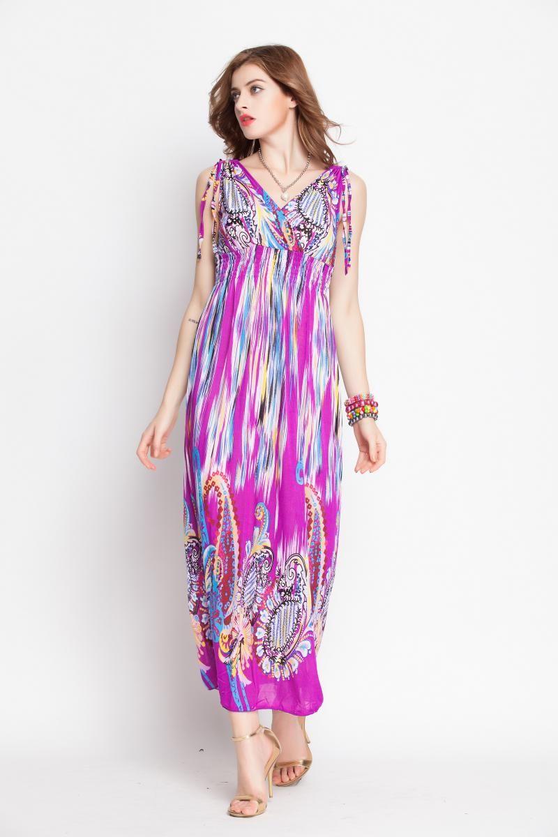 Nation Style Pattern Sleeveless V Collar Dress _Maxi
