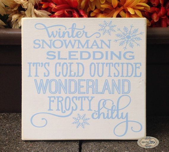Winter Words sign winter snowman sledding it's cold by SignsbyJen