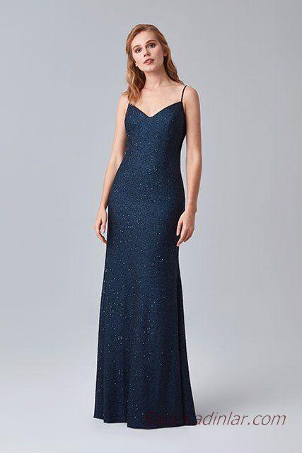 63d07c3e10568 2019 Abiye Elbise Modelleri Lacivert Uzun İp Askılı V Yakalı Sade ...