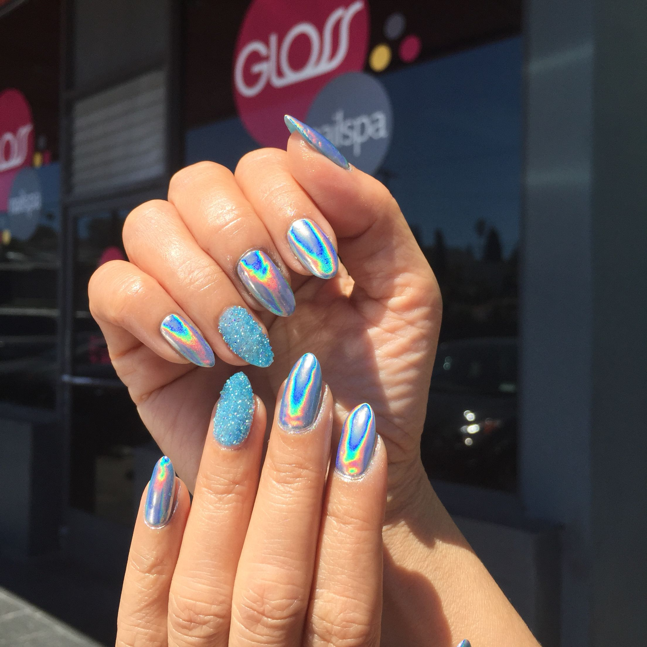 Blue glitter ombr 233 stiletto nails - Pinterest Pmooose