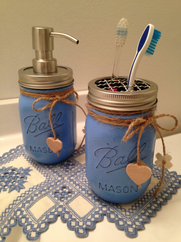Blue Mason Jar Soap Dispenser and Tooth Brush holder #masonjardiy