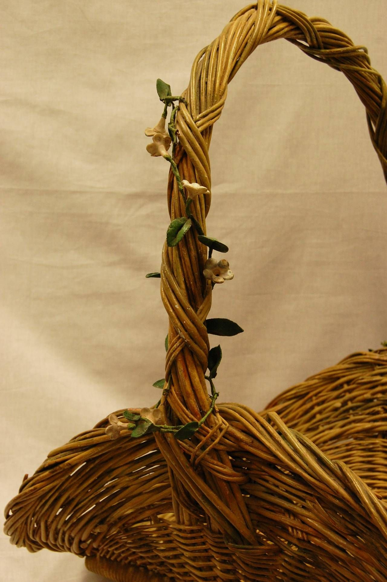 Victorian Rattan Basket with Flowering Vines   Decorative objects ...