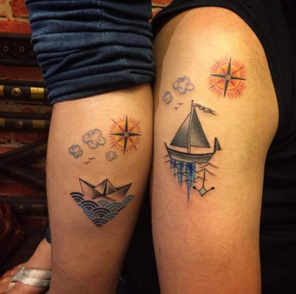 d5ebec96b Ship With Compass Couple Tattoo Design - CreativeFan   tattoos ...