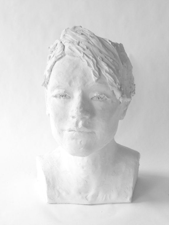 Head sculpture planter of man   White terracotta by morphingpot