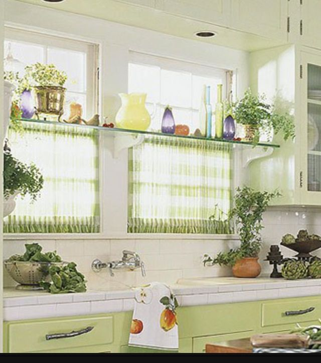 Kitchen Window With Ledge: Kitchen Window!!! Glass Shelf With Tension Rods Underneath
