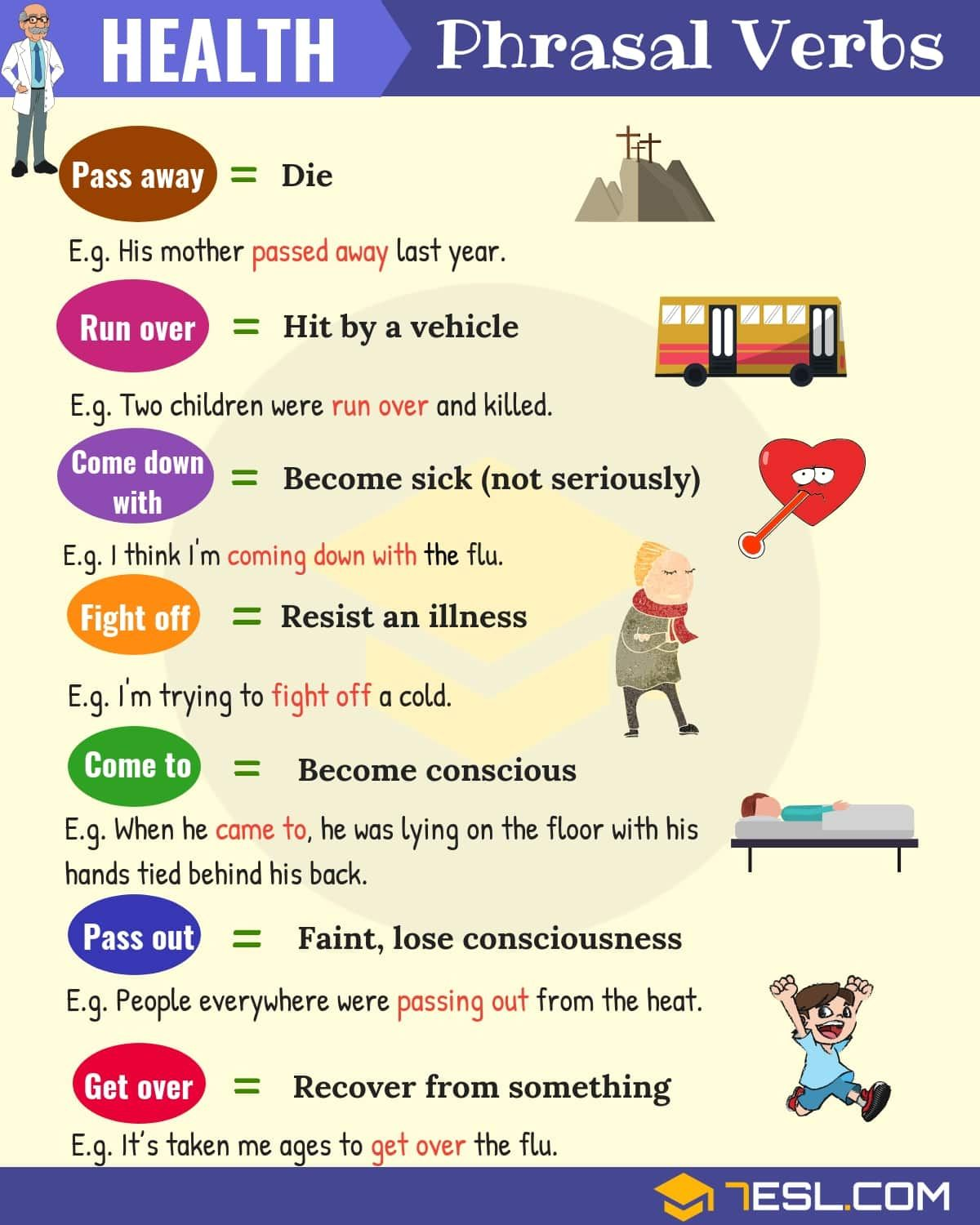 Health Vocabulary 20 Useful Health Phrasal Verbs Learn English