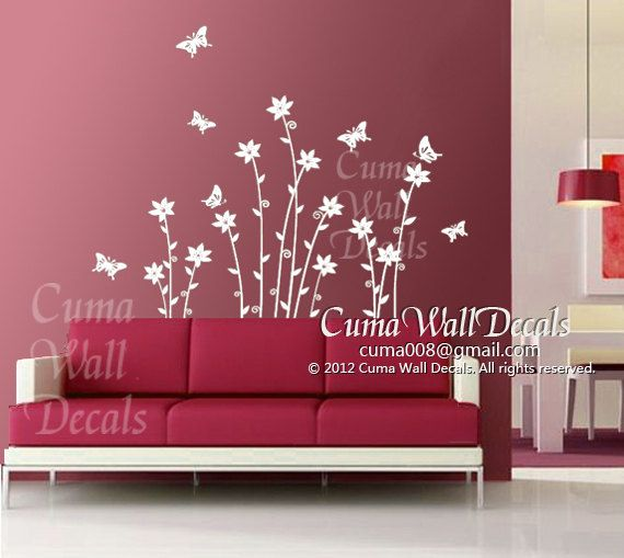 Flower Wall Decals Tree Vinyl Wall Decals Butterfly By Cuma - Vinyl wall decals butterflies